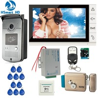New Wired 9 Inch Video Door Phone Intercom Entry System 1 Monitor 1 RFID Access IR
