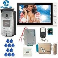 New Wired 9 pollice Video Telefono Del Portello Facchino di 1 Monitor + 1 RFID Accesso Serratura della Porta di Controllo IR 700TVL Macchina Fotografica + Elettrico