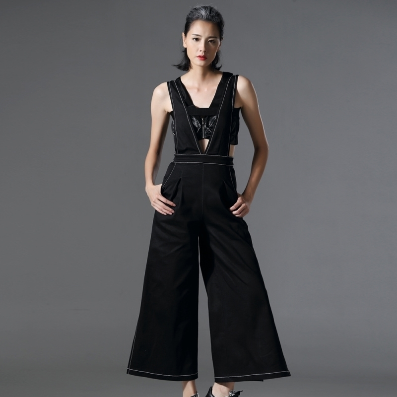 где купить [AZURESHEN] Tailor-made 2017 Spring Summer Personality Cowboy Straps Wide Leg Long Pants Ntwo Pockets All-match AZ00141S по лучшей цене