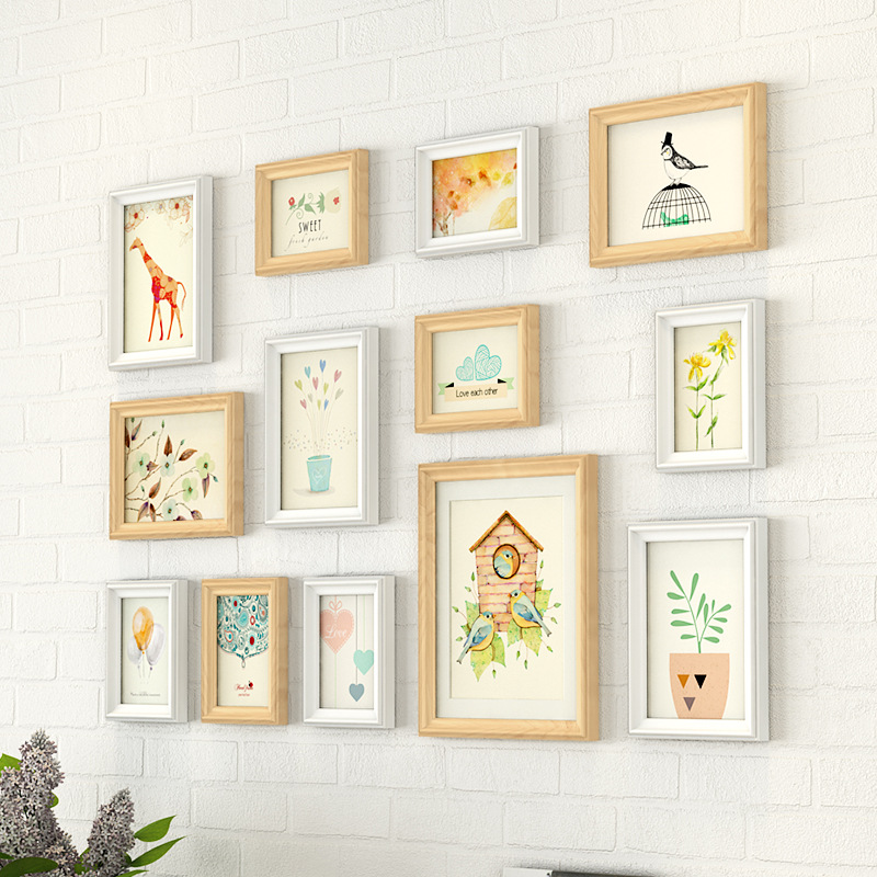 13 pieces Picture Frames Wall Decoration Pastoral Wood ...