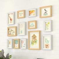 13 pieces Picture Frames Wall Decoration Pastoral Wood Hanging Wall Photo Frame Set TV Background Photo Frame Set Home Decor