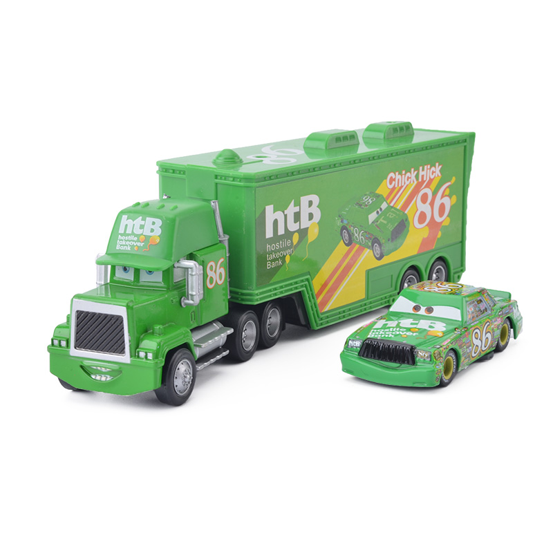 цены Disney Pixar Cars 3 2pcs Chick Hicks Lightning McQueen Uncle Container Truck 1:55 Diecast Metal Modle Birthday Gift Toy For Kid
