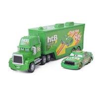 Disney pixar carros 3 2 pçs pintainho hicks relâmpago mcqueen tio recipiente caminhão 1:55 diecast metal modle presente de aniversário brinquedo para criança Carrinhos de brinquedo e de metal     -