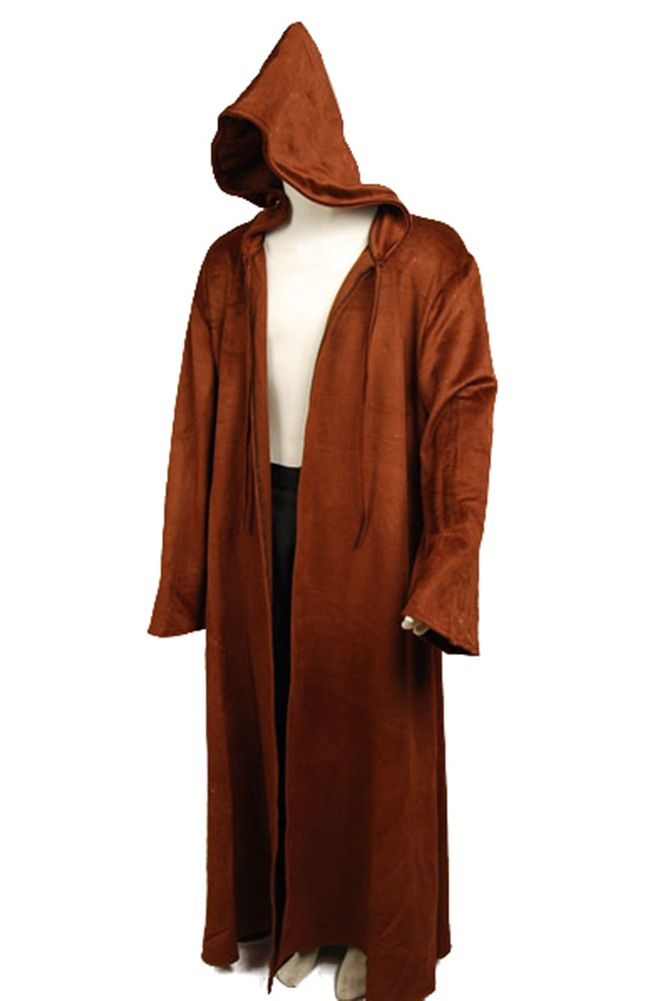 1b1e3882ed Star Wars Cosplay Costume Brown Sith Jedi Robe Wool Cloak obi wan Kenobi  Hooded Robe Cosplay Costume Adult Men Halloween Costume