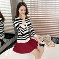 2918-la nueva primavera de seda de lino de la raya cardigan suéteres 58