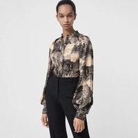 Модная блуза, винтажные офисные женские рубашки, женские повседневные топы с длинными рукавами, мода 2019, дизайнерские шелковые блузки с при