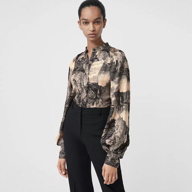 efc29983ec30a Runway Blouse Vintage Office Ladies Shirts Female Casual Long Sleeve Tops  Fashion 2019 Designer Silk Print Blouses Women