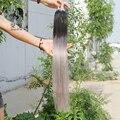 Ombre Loop Micro Extensões Do Cabelo T1B/Silver Grey Cabelo Humano Cabelo Virgem Malaio Reta 100 s Micro Anéis Ligações Extensão Do cabelo