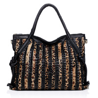 Promotion Leopard Women Tote Bag Big Capacity Luxury Leoskin Grain Patchwork Shoulder Bags For Women 100