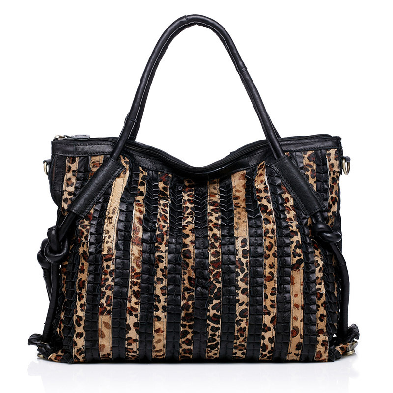 Promotion Leopard Women Tote bag Big Capacity Luxury Leoskin Grain Patchwork Shoulder Bags For Women 100% Genuine Leather Totes promotion women