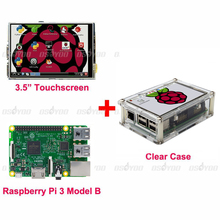 Raspberry Pi 3 Model B Board+ 3.5 TFT LCD Touch Screen Display + Clear Case Kit