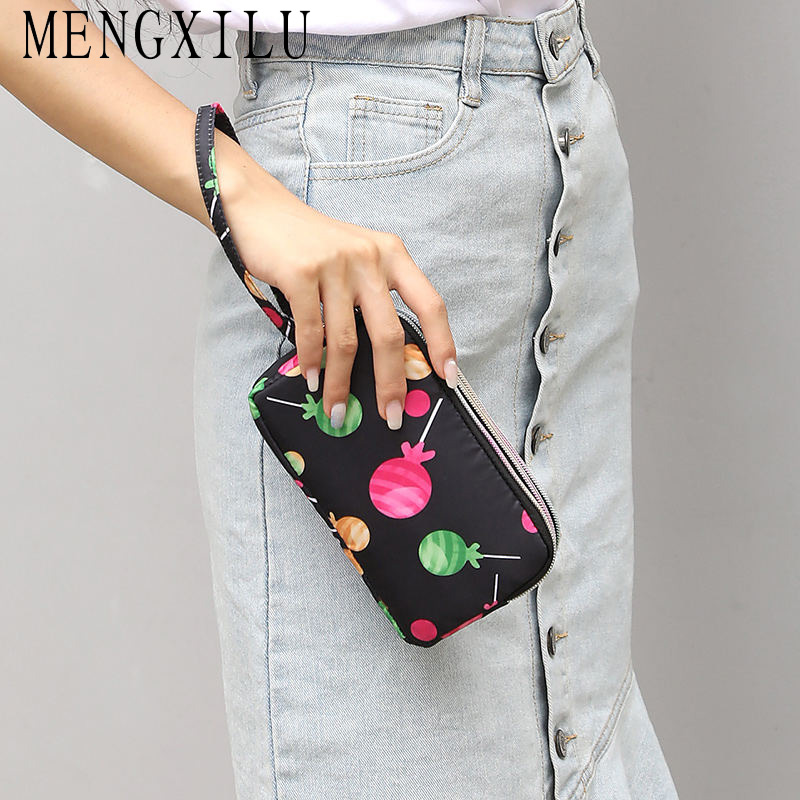 MENGXILU Candy Prints Nylon Women Clutch Bag Heart Butterfly Flower Pattern Ladies Hand Bags Portable Casual Tote Wallet Purse(China)