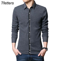 TFETTERS Brand Clothes Autumn Thick Casual Men T Shirt Knitted All Match Long Sleeve Turn Down