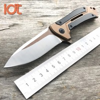 LDT 0801 CF Ball Bearing Folding Knife D2 Blade Steel Carbon Fiber Handle Knife Camping Hunting