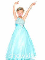 Aqua Green Red One Shoulder Girls Pageant Dresses Crystals A Line Rhinestones Beaded Top Flower Girl Gowns