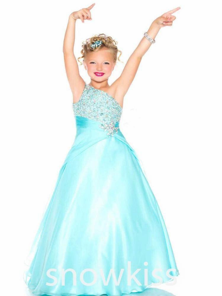 Aqua vert rouge une épaule filles Pageant robes cristaux une ligne strass perlé Top robes de demoiselle d'honneur