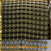 2014 Rushed Free Shipping 5yard Lot Sunflower 12rows Plastic Rhinestones Mesh Trimming Sewing Trim Wedding Dress