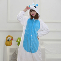 Funny Pajamas Adults Sloth Onesies Flannel Kigurumi Blue Unicorn One Piece Sleepwear Cute Winter Home Jumpsuit