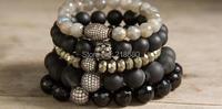 Pave Beads Stretch Strand Stacking Bracelet B15110623