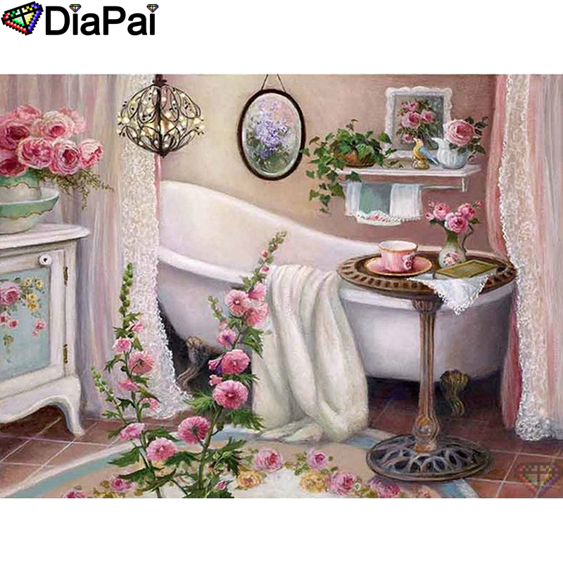 DIAPAI 100 Full Square Round Drill 5D DIY Diamond Painting quot Flower bathroom quot Diamond Embroidery Cross Stitch 3D Decor A18633 in Diamond Painting Cross Stitch from Home amp Garden