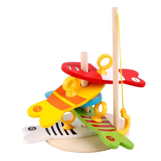 8 piezas de mesa de madera Montessori juegos de mesa para niños Juego de mesa para niños columna de pesca educativa Montessori Juegos De Madera Juguetes