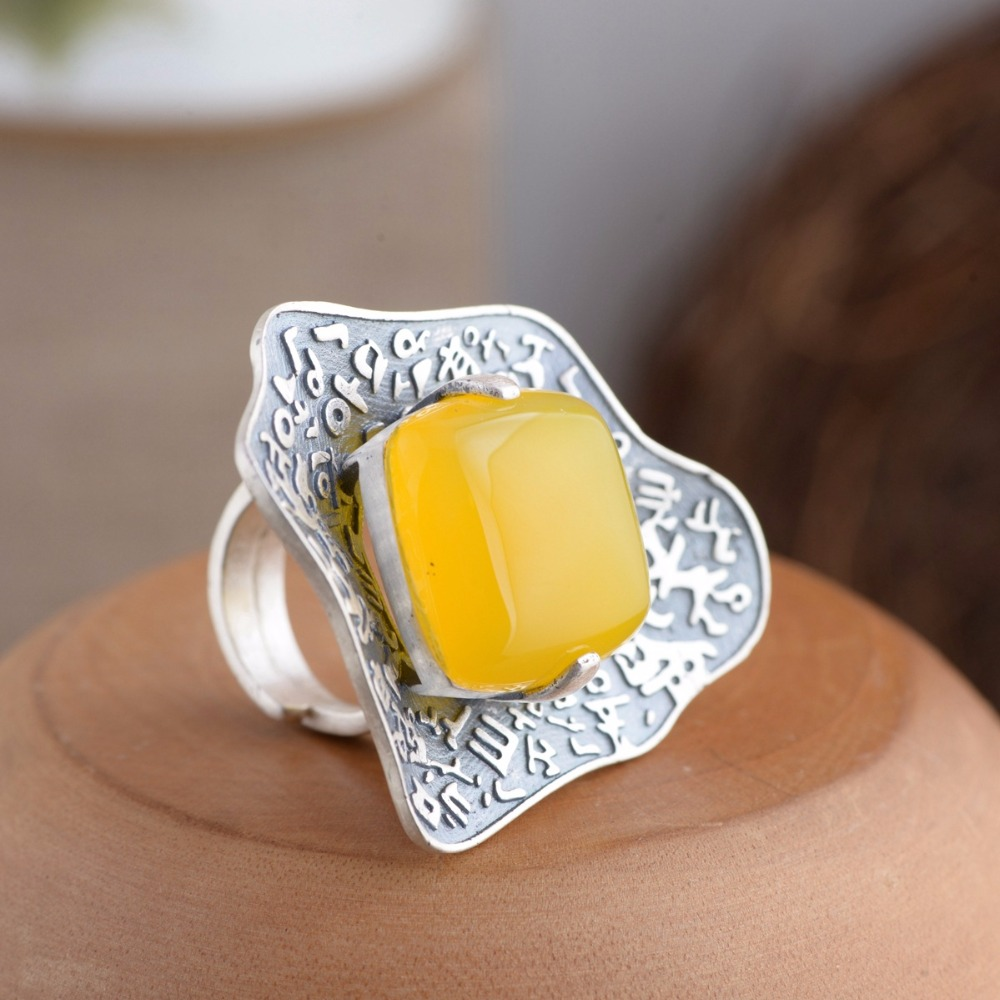 100% Genuine 925 Sterling Silver Ring for Women Vintage Handmade Yellow Chalcedony Gift Ring Thai Silver Jewelry Accessories 925 sterling silver ring natural yellow chalcedony stone 100