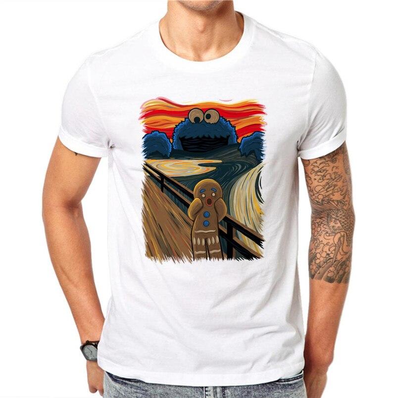 100% Baumwolle Lebkuchen Mann Design Männer T-shirt Neuheit Die Schrei Gedruckt Männlich Kühlen Tops Kurzarm Casual Tee T Shirts Angenehm Im Nachgeschmack
