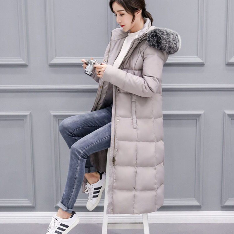 Fashion hundred ride down jacket 2018 new Medium length Winter thicken jacket fur collar hooded coat