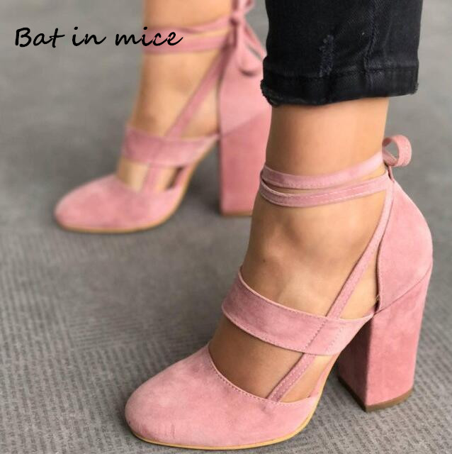 Sexy Female Ankle Strap Women High Heels Flock Gladiator Shoes Rome Fashion Women dress Wedding Pumps shoes Plus Size 34-43 W129 trendy women s pumps with flock and ankle strap design