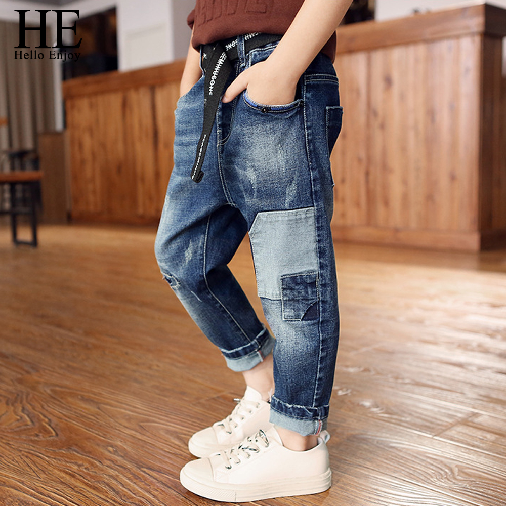 children jeans kids spring autumn boys pants hole patchwork ripped denim jean trousers kids clothes for boys teenagers 4-12 year wholesale 2016 new unique fashion runway hiphop hole wornout ripped girl pants jean destroy womens slim denim jeans trousers