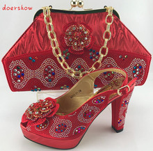 Italy shoes and bag to match set for party Italian women's shoes and bag set new design african shoes and bag set doershowPME1-4