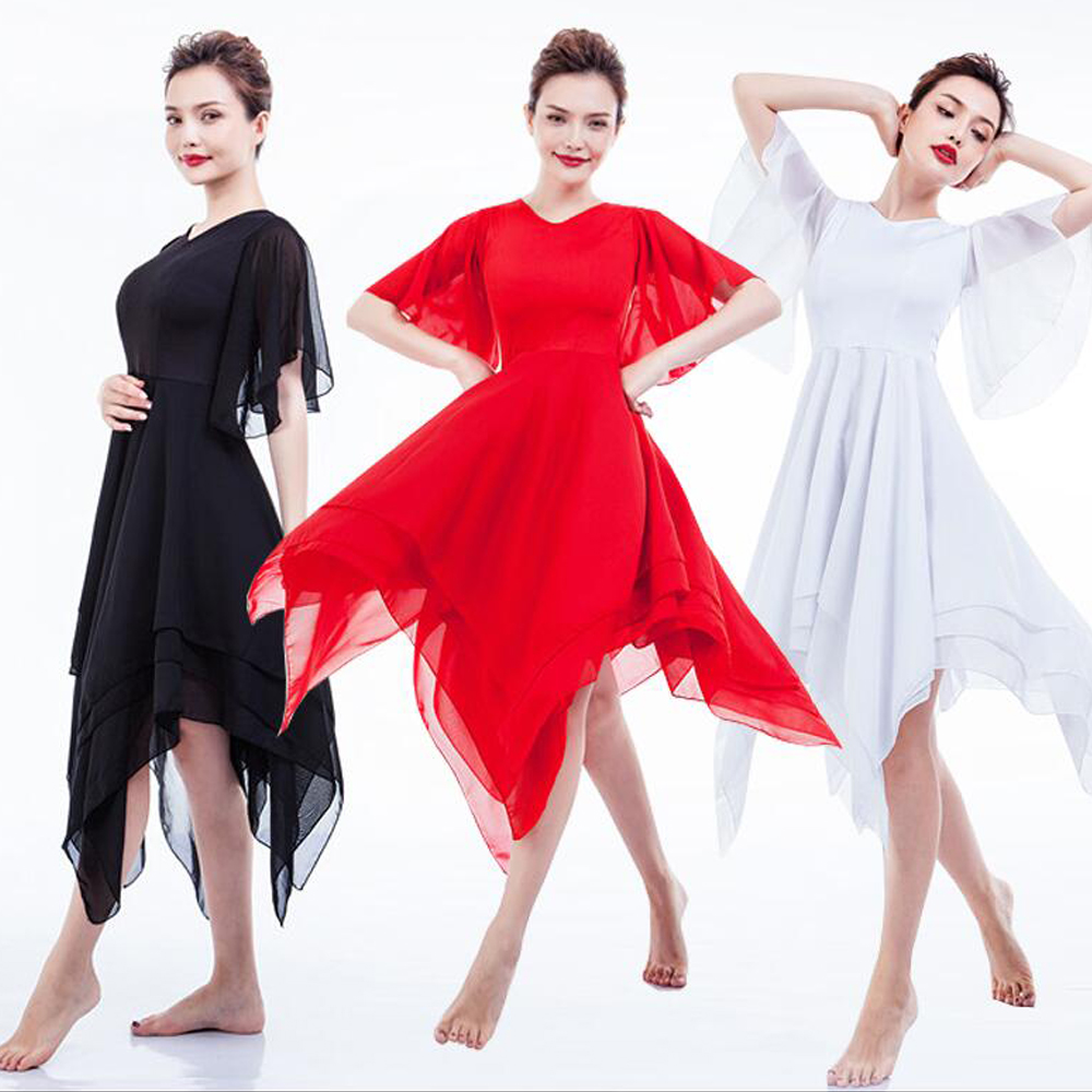 White Red Black Jasmine Ballet Long Dress Outfits Classic Chiffon Modern Dance Ballet Skirt Elegant Contemporary Dance Costumes