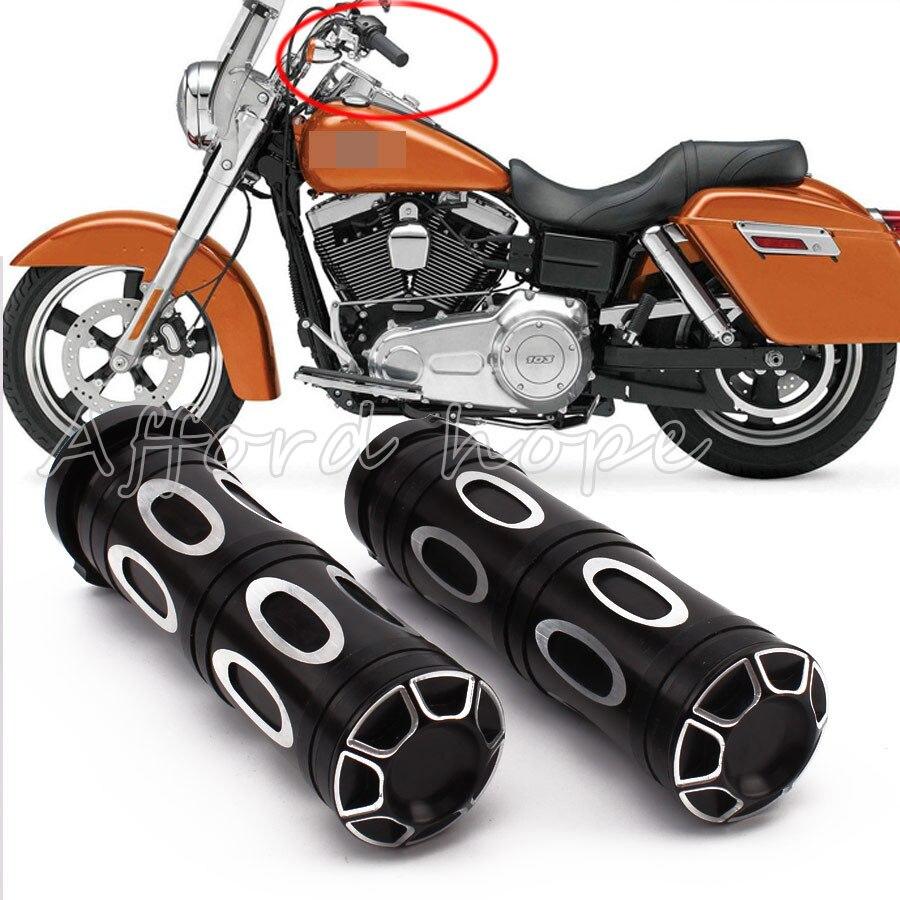 "25mm Motorcycle Handlebar Billet Grips Pair Black Alloy For 1/"" Inch Bars"