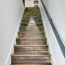 3D 階段ステッカー階段床壁デカールステッカーリビングルームの装飾 13 ピース/セット