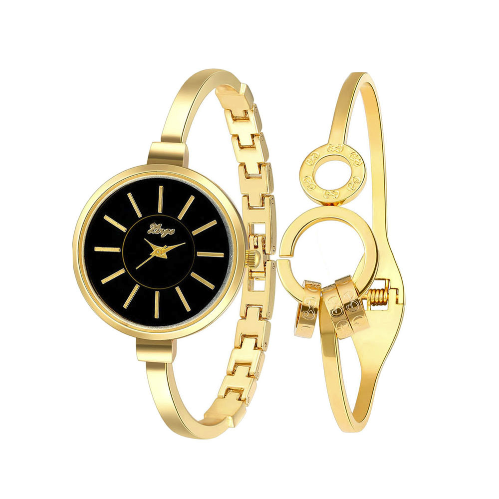 ФОТО Women Bracelet Watch Dress Watches Gold Rhinestone Bangle Watch And Bracelet Set 609GB montre femme relogio feminino Feida