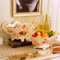 Ceramic carved big fruit plate handmade ornament modern porcelain decorative bowl plate dried fruits storage Kitchen accessories