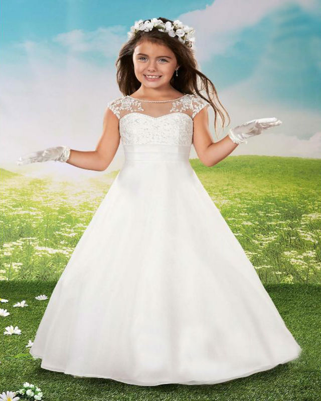 A-line Flower Girls Dresses For Wedding Gowns  Hand Make Girl Birthday Party Dress First Communion Dresses For Girls