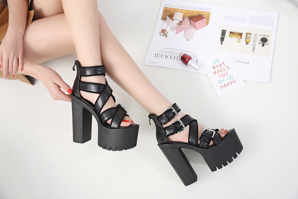 Women Metal Buckle Cross Ankle Strap Platform Sandals Open Toe