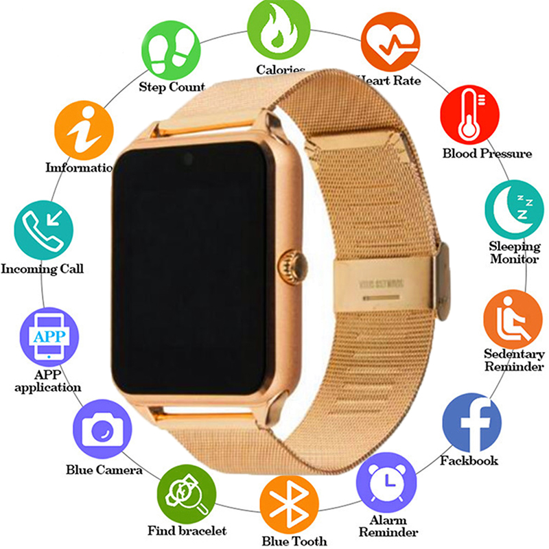 New Z60 Smart Watch GT08 Plus Men Metal Strap Bluetooth Wrist Smartwatch Support Sim TF Card Android&IOS Watch Multi-languages