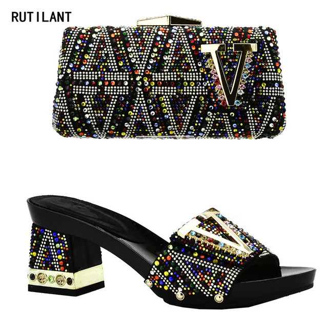 New Arrival Italian Shoes with Matching Bags for Wedding Italy Shoe and Bag Set In New 2018 Nigerian Shoes and Matching Bags