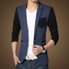 2015 New Linen Blazers Men Design Men Blazer Suit Personality Blaser Casual Blazer Men Slim Fit Blue Blazer Buttons