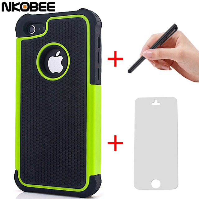 NKOBEE 7 7 Plus Hybrid Silicon Back Case Cover for Apple iphone 5C 5 C 5 5S 6 For i phone 6 6S 7 7 Plus Touch pen+Screen Gift
