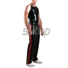 Suitop Для Мужчин Латекс спортивные костюм включая брюки и футболка