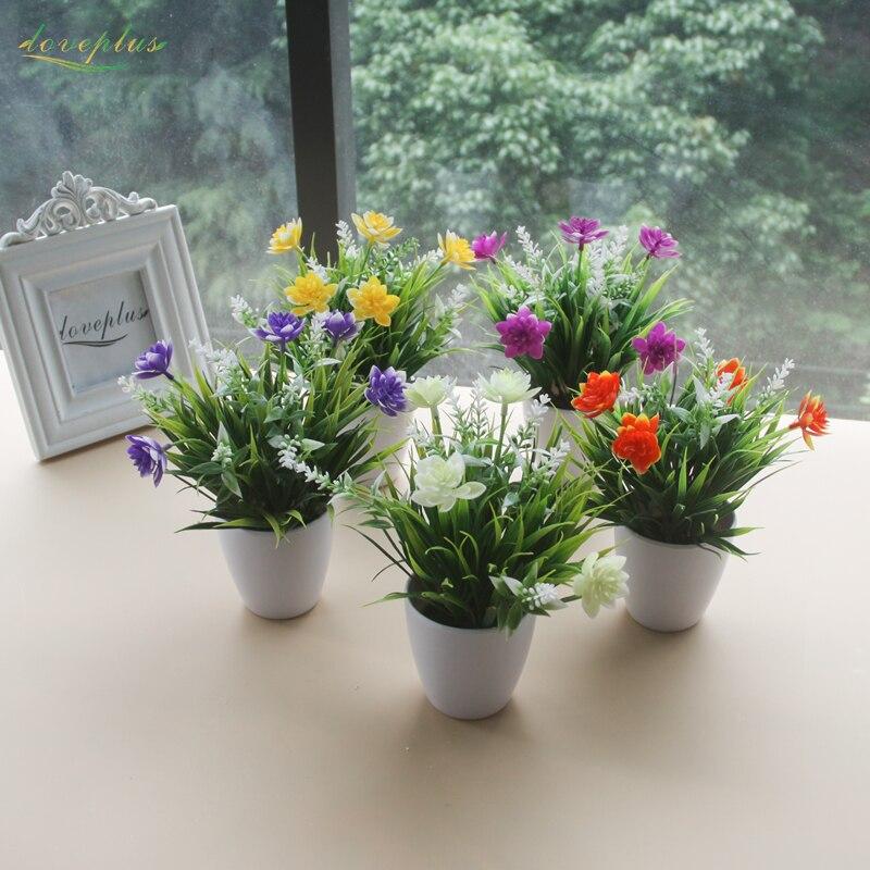 잔디 공장과 Zinmol 로터스 인공 꽃 가짜 분재 플라스틱 꽃병 + 가정 선물을위한 꽃 가정 장식 테이블 장식