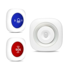 KOOCHUWAH Wireless Sound Alarm with LED Flash Motion Sensor Home Security Doorbell Alert and SOS Panic Button Kit Sound Siren microwave sensor alarm sf 500a wireless industrial sound and light alarm device led flash beacon light sound siren with usb port