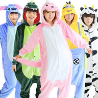 2017 Unicorn Stitch Giraffe Unisex Flannel Pajamas Adults Cosplay Cartoon Animal Onesies Sleepwear Hoodie For Women