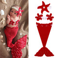 BS#S New Cartoon Infant Cotton Mermaid Costume Baby Photography Prop Crochet with HatBand/Corsage/Sleeping Bag