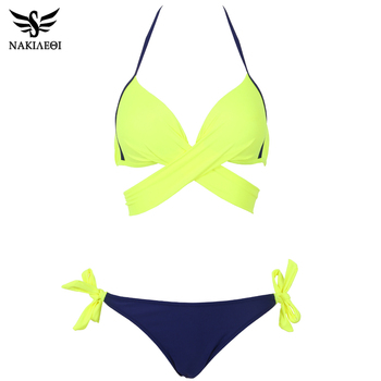 NAKIAEOI 2018 Sexy Bikini Women Swimsuit Push Up Swimwear Criss Cross Bandage Halter Bikini Set Beach Bathing Suit Swim Wear XXL 3