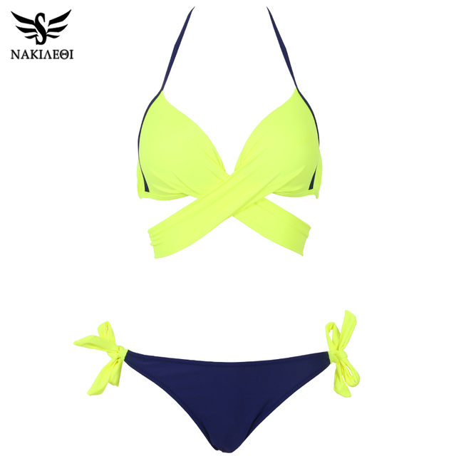 NAKIAEOI 2017 Sexy Bikini Women Swimsuit Push Up Swimwear Criss Cross Bandage Halter Bikini Set Beach Bathing Suit Swim Wear XXL