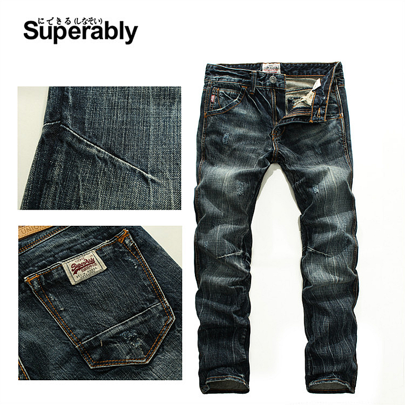Vintage Men`s Dark Jeans Mid Stripe Slim Straight Denim Pants Male high Quality Superably Brand Jeans Men 28-38 206-1 classic mid stripe men s buttons jeans ripped slim fit denim pants male high quality vintage brand clothing moto jeans men rl617